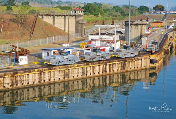 Die 45 Tonnen schweren Mulis in den Miraflores-Schleusen sind mit zwei 290 PS Antriebseinheiten ausgerüstet