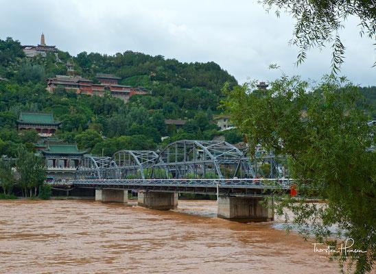 """Zhongshan-Brücke 中山桥 in Lanzhou, von den Chinesen auch """"die erste Brücke über den Gelben Fluss unter dem Himmel"""" gennant"""