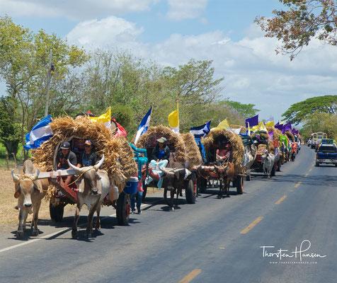 Katholische Pilgerwagen auf dem Weg nach Rivas