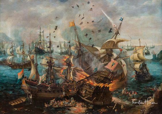 Die Explosion des spanischen Admiralschiffs von Claesz van Wieringen