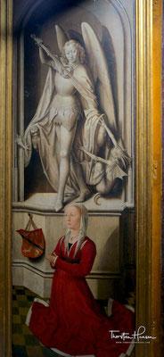 Stifterbildnis der Ehefrau Caterina di Franceso Tangeli; darüber der Erzengel Michael