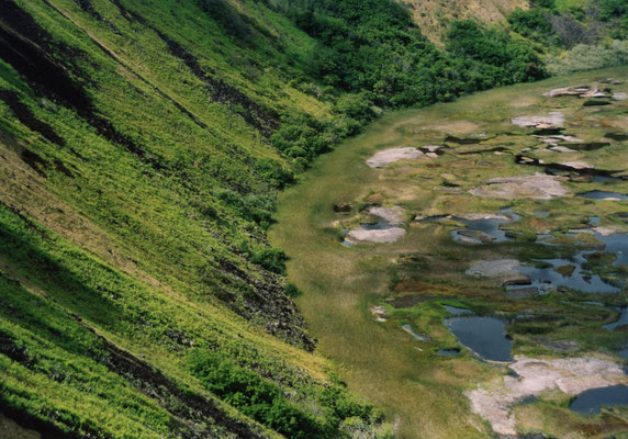 Krater Rano Kau mit dem Zeremoniendorf Orongo