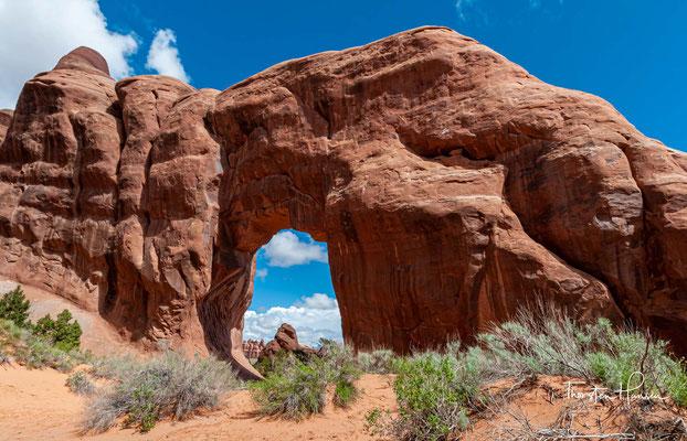 Der Pine Tree Arch ist ein Felsbogen im Devil´s Garden, einem nördlichen Teil des Arches Nationalparks.