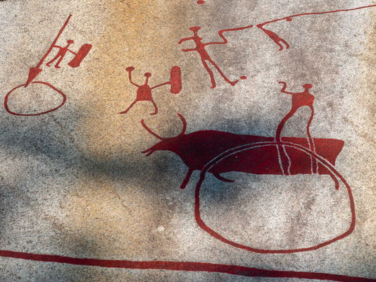 Unter den vielen Bildern von Schiffen, Personen und Tieren gibt es u. a. ein Brautpaar, eine Frau bei einem liegenden, eventuell toten Mann, eine Gruppe von Männern mit Streitäxten, einen Mann vor einer großen Schlange u. a.