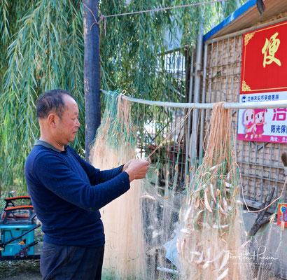 Fischer am Liujiaxia-Stausees