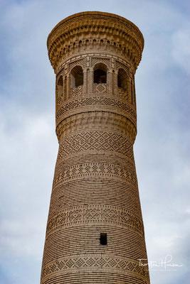 Das Kalon-Minarett wurde zu 1127 unter dem Karachaniden Arslan Khan errichtet, der von 1102 bis 1130 als Vasall des Sultans der Seldschuken Teilherrscher in Transoxanien war.