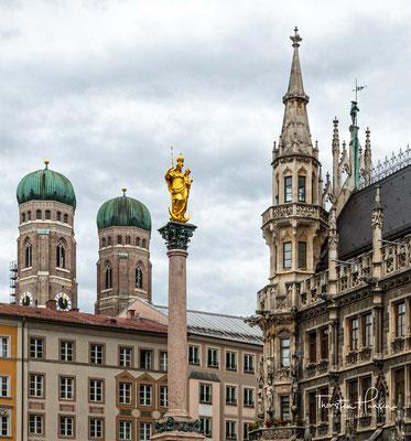 Marienplatz mit Blick auf die Frauenkirche, die Mariensäule und das Neue Rathaus