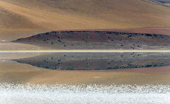 Der 18 km² große Salar hat offene Wasserflächen mit einer variierenden Gesamtausdehnung von 4,5 bis 9 km².