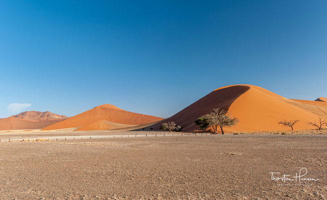 Das Sandmeer bedeckt weite Teile des Namib-Naukluft-Parks südlich des Kuiseb über Sesriem mit dem Sesriem-Canyon und das Sossus- sowie Deadvlei