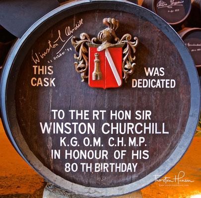 Winston Churchills Sherry Faß in der Bodega González Byass in Jerez de la Frontera