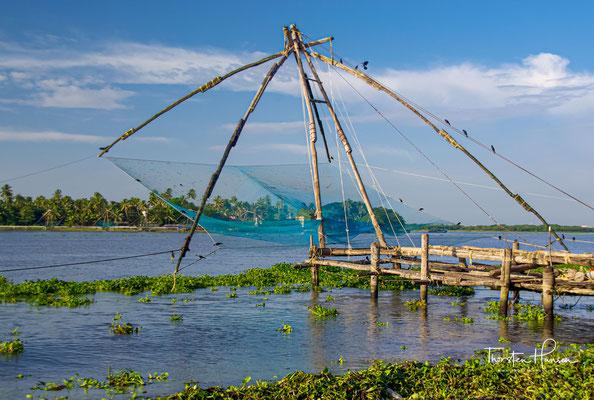 An der Nordspitze der Halbinsel Fort Kochi befinden sich die berühmten Chinesischen Fischernetze.