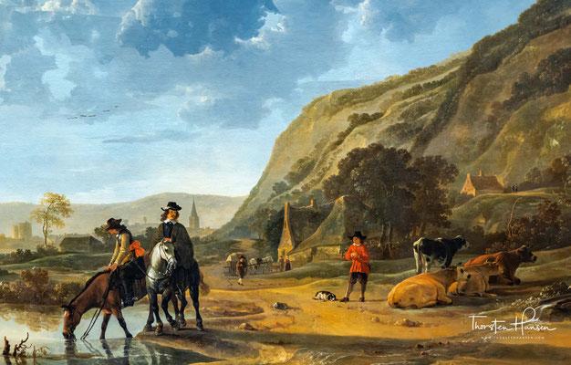 Aelbert Jacobsz. Cuyp – Fluss Landschaft mit Reiter und Bauern