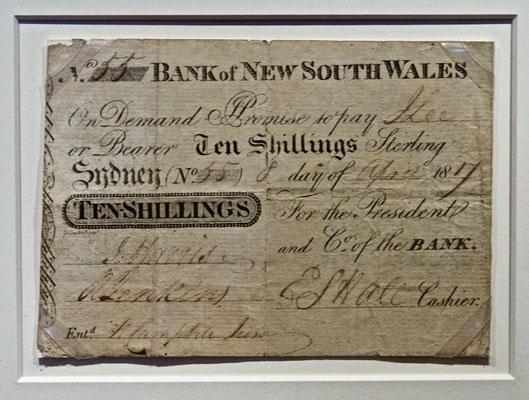 Australiens erste Banknote aus dem Jahre 1817