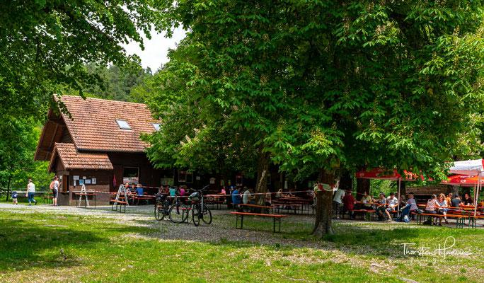 Die Blockhütte Waldnaabtal mit einem wunderschönen Biergarten