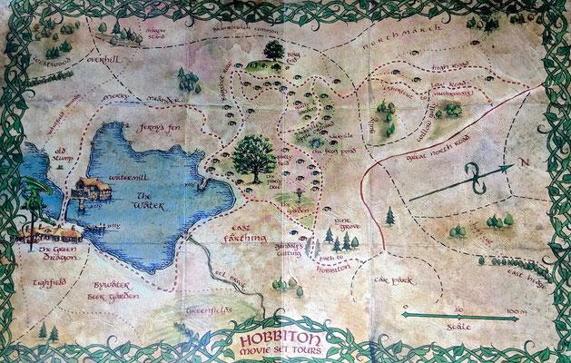 Karte von Die Familie Alexander zog 1978 auf das 500 Hektar große Grundstück mit hügeligem Grünland, auf dem sich das Set befindet.