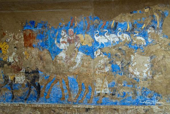 Wandmalereien aus Afrasiab.  Afrasiab wurde etwa 750 v. Chr. in der fruchtbaren Ebene des Serafschan als Oasenstadt gegründet und war im Achämenidenreich die Hauptstadt der Provinz Sogdien.