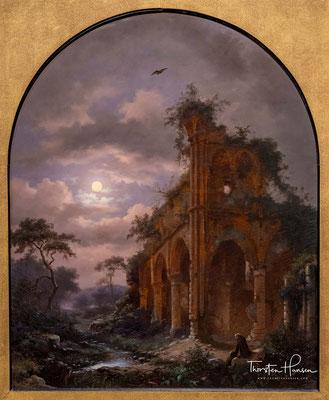 Mönch Meditieren in der Nähe einer Ruine im Mondschein von Frederik Marinus Kruseman