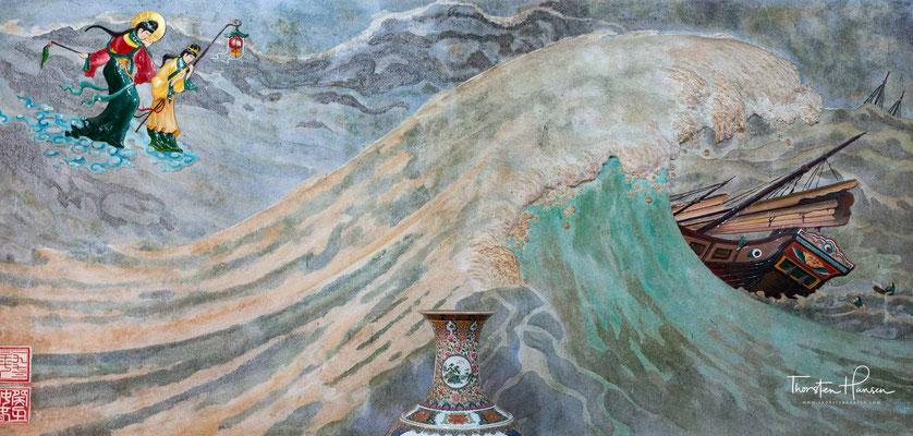 """Außerdem kann man hier wunderschöne Wandbilder der Meeresgöttin und ihrer beiden Gehilfen """"Alles Sehens"""" und """"Alles Hören"""" bewundern."""