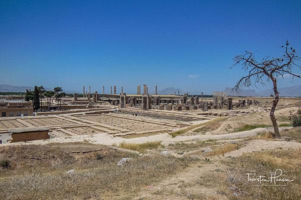 was ihn zum größten Saal der alten Welt machte; auch der Zentralsaal der Apadana war kleiner. Die Decke des Hundert-Säulen-Palastes wurde von 100 Säulen getragen, die in 10 Reihen zu je 10 Säulen angeordnet waren.
