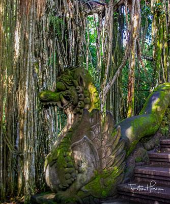"""""""Heiliger Affenwald Ubud"""" – Sacred Monkey Forest Sanctuary , es handelt sich hierbei um einen hinduistischen Tempelkomlex, der der Gemeinde sehr wichtig ist."""