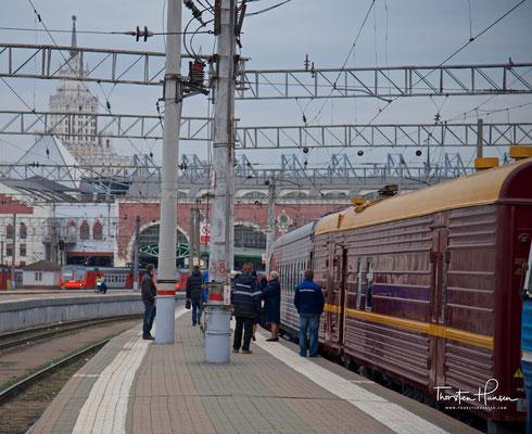 Abfahrt des Zarengold Sonderzuges von Lernidee Erlebnisreisen vom Kasaner Bahnhof in Moskau