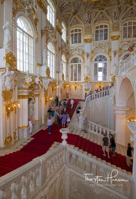 Barocke Repräsentationstreppe (Jordantreppe) im Eingangsbereich des Winterpalastes
