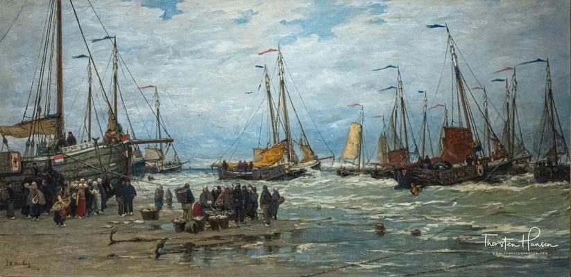 Hendrik Willem Mesdag, Fischerboote in brechenden Wellen, um 1875–um 1885