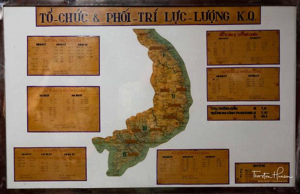 Karte von Vietnam im Bunker des Unabhängigkeitspalast