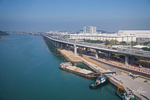 Blick über den Flughafen in Hong Kong