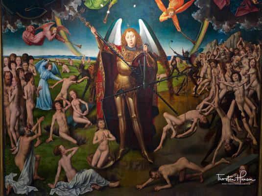 Mitteltafel mit der Auferstehung der Toten und der Seelenwägung