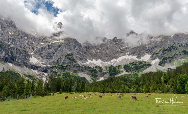 Der Große Ahornboden liegt am Talschluss des Rißtales, dem Enger Tal, kurz vor der Ortschaft Eng zwischen 1080 und 1300 m ü. A.