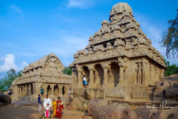 Jedes der fünf Monumente, die im 7. Jahrhundert in einem Stück aus dem Fels gehauen wurden, weist unterschiedliche Stilmerkmale auf.
