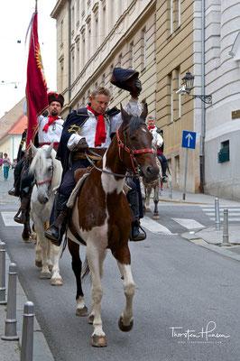 Kroatischer Pandur Reiter in Zagreb