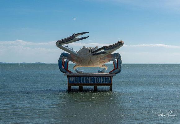 Kep ist berühmt für seine Krabben, diesen wurden eigens ein im Meer stehendes Monument in Form einer überdimensionalen Krabbe gewidmet.