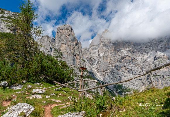 Das Wiesenjoch Forcella del Camp auf 1933m Höhenmetern