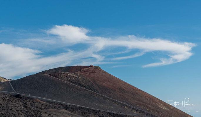 Sie liegt je nach den Folgen der vorangegangenen Aktivität zwischen 3200 und 3350 m.