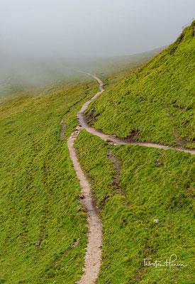Der Weg führt auf einer leichten Gratwanderung Kreuzkofeljoch