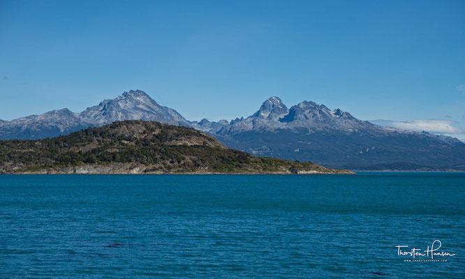 Blick auf die Berge Chiles und die Islas de Tierra del Fuego