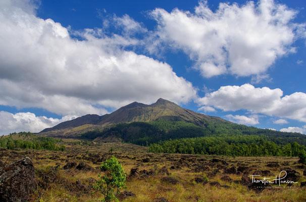 Am Fuß des Mt. Batur angekommen, kann man einen letzten eindrucksvollen Blick auf den Vulkankegel genießen.