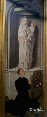 Stifterbildnis von Angelo di Jacopo Tani; darüber die Gottesmutter mit Kind