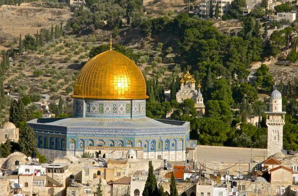 Der Felsendom - قبة الصخرة -  כיפת הסלע, in Jerusalem - der älteste monumentale Sakralbau des Islams