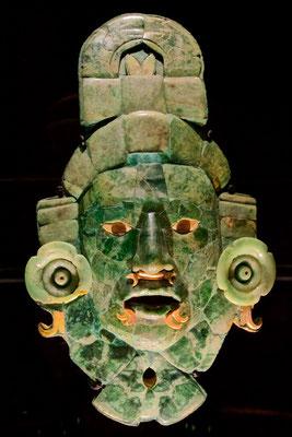 Jademaske aus Calakmul, Mexiko- späte Klassik 600-800 n. Chr.