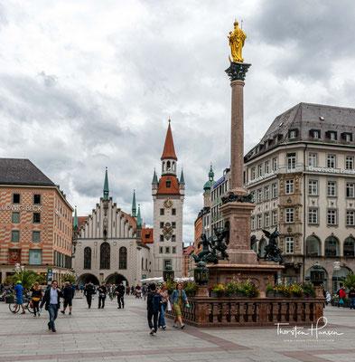 Marienplatz in München und Startpunkt meines Traumpfades München - Venedig am 02. Juli 2020.