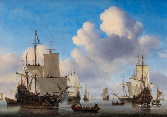 Niederländische Schiffe auf ruhiger See - Willem van de Velde d.J.