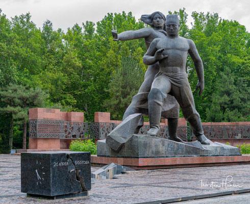 Das Denkmal für die Opfer des Erdbebens von Taschkent 1966. Es wurde im Jahr 1976 anlässlich des 10. Jahrestages der Katastrophe eröffnet.