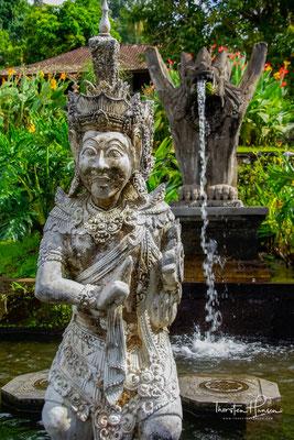 Sämtliche Wasserbassins, Teiche, Brunnen sowie das öffentliche Schwimmbad im Tirta Gangga werden von dem Wasser einer heiligen Quelle gespeist.
