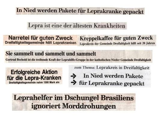 Überschriften aus Zeitungsartikeln der Frankfurter Presse