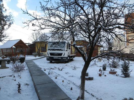 Ankunft im Schneetreiben in Toblita