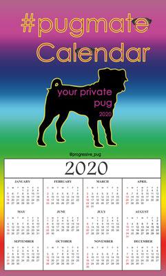 progressive-pug 2020 calendar - front page