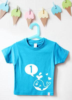 Geburtstagsshirt Tiere | Wal 1 Jahr - türkis & weiß